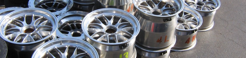 A stack of alloy wheels